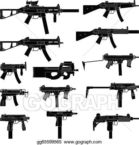Vector illustration eps gg. Clipart gun submachine gun