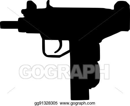 Clipart gun uzi. Vector art eps gg