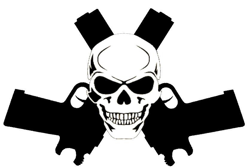 Clipart gun vector. Skull in guns cut