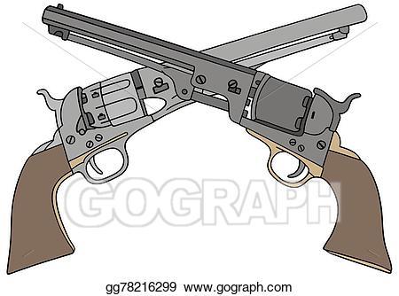 Clipart gun wild west. Vector art handguns drawing