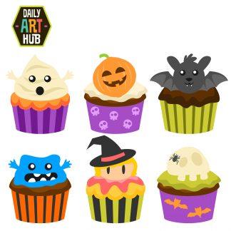 Clipart halloween baked goods. Cupcakes clip art set