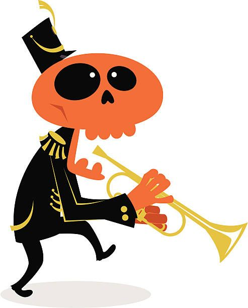 Clipart halloween band. Ghost marching trumpet player