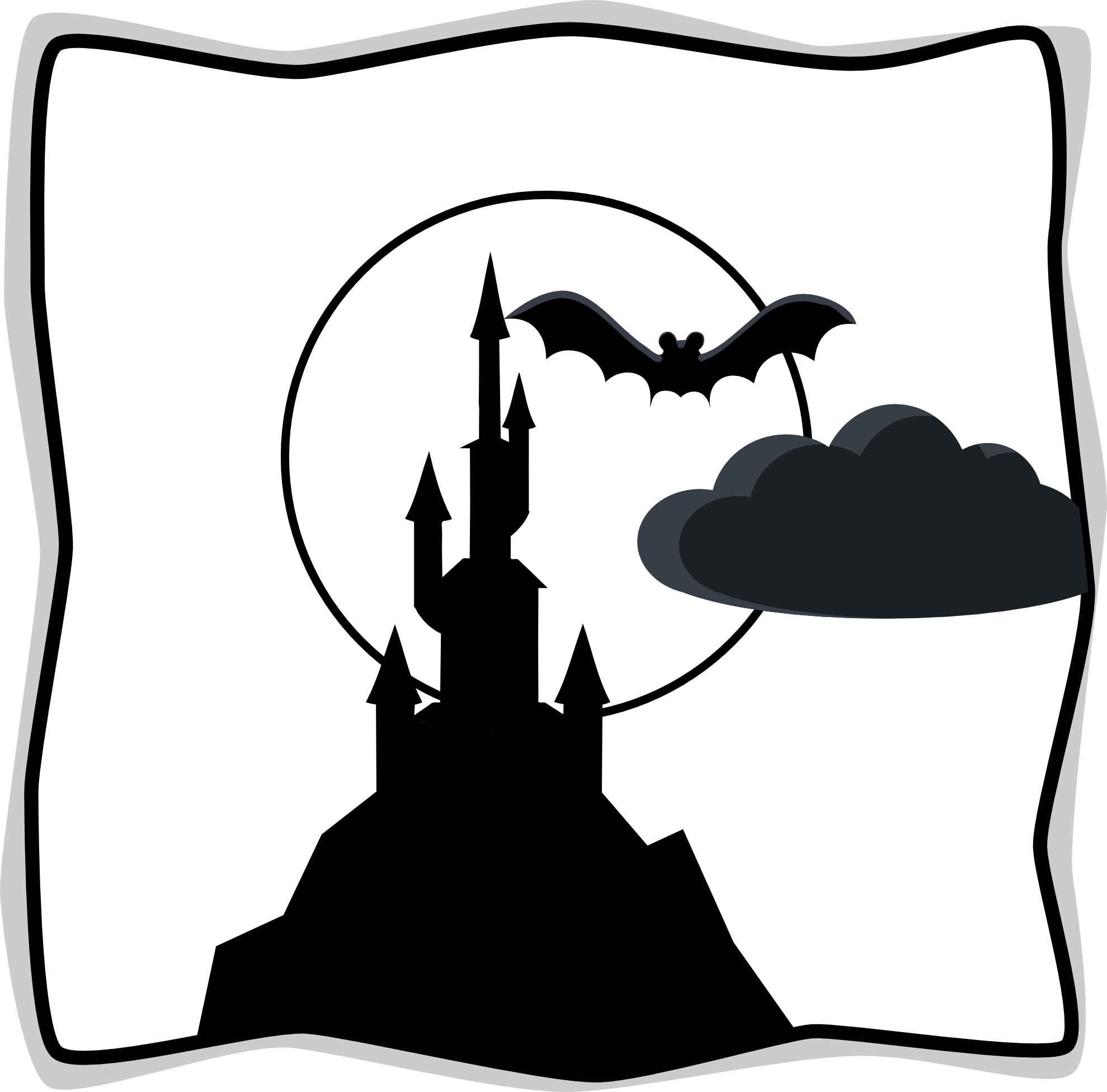Explorer clipart outline. Spooky black and white