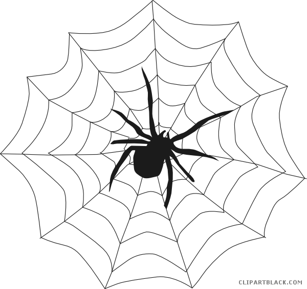 Clipart halloween black and white. Spider animal free images