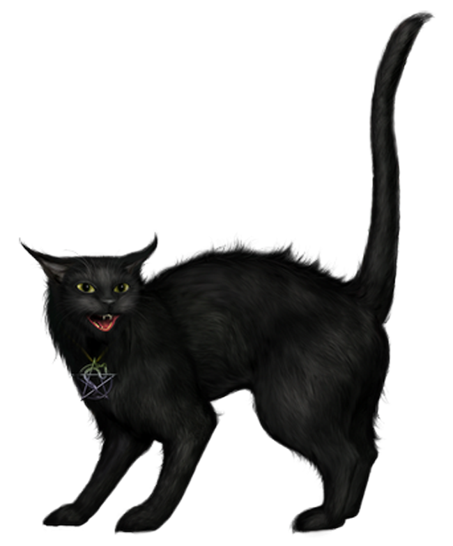 Creepy png picture gallery. Clipart halloween black cat