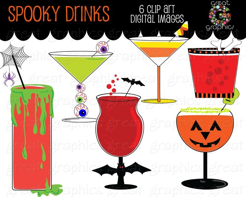 Drinks clipart spooky. Halloween party printable cocktail