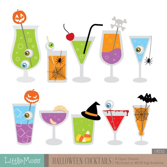 Cocktails digital products clip. Clipart halloween cocktail