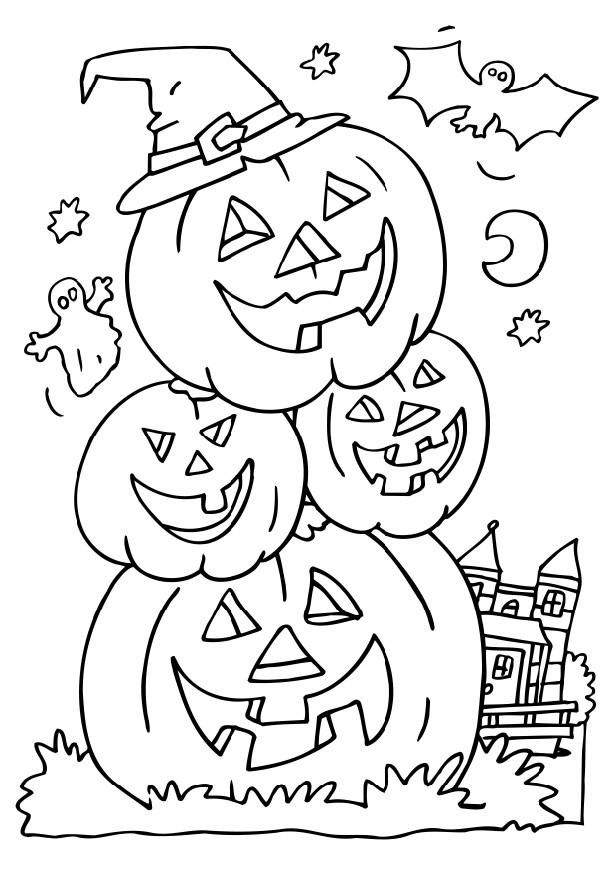 Clipart halloween color. Coloring pages to print