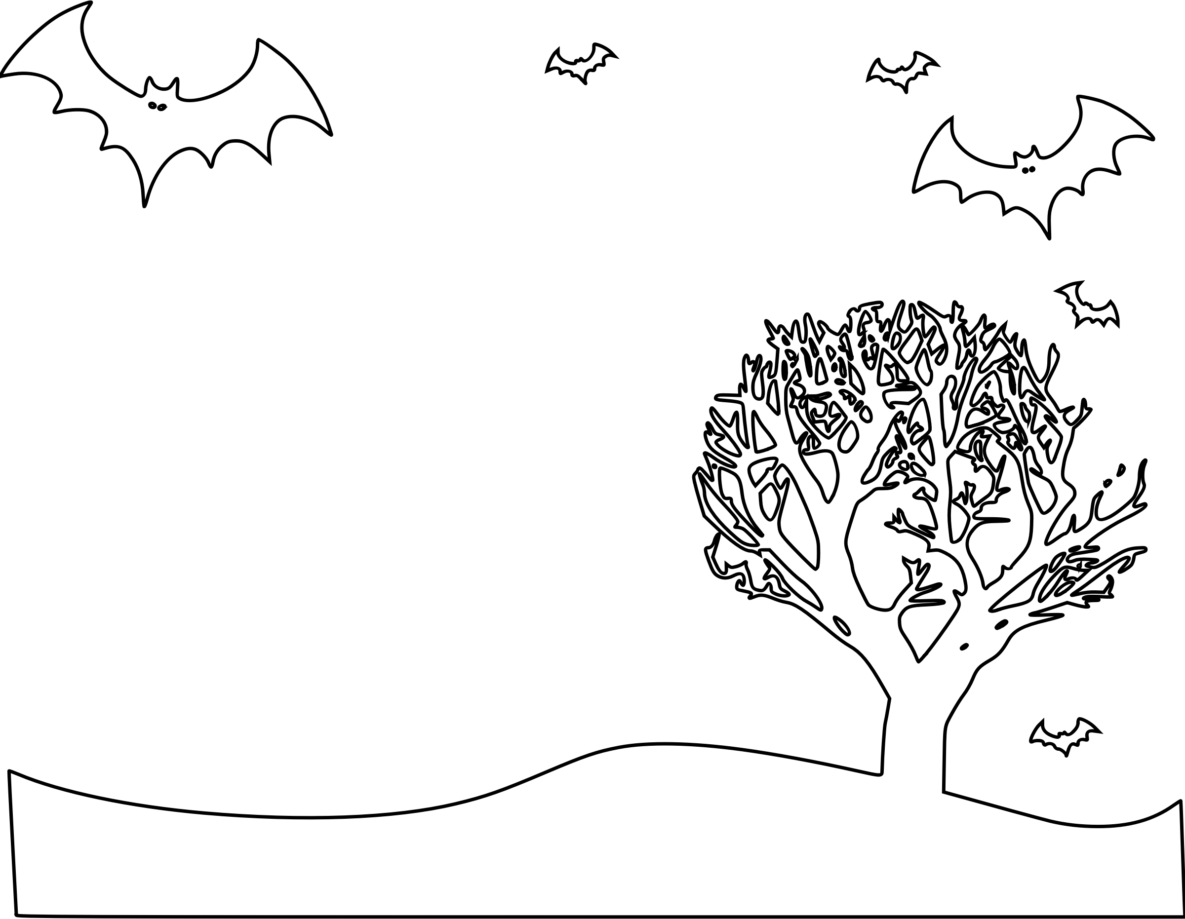 Clipart halloween coloring page. Landscape
