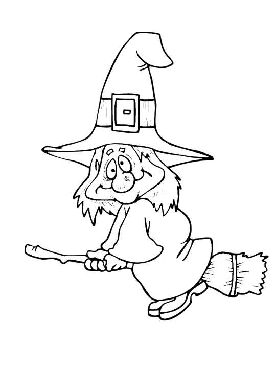 Vintage sheet music witch. Clipart halloween coloring page