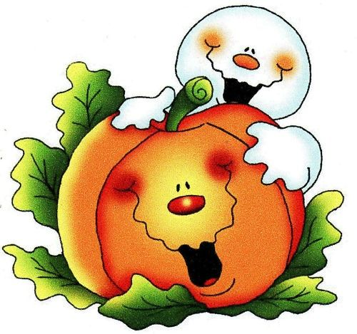 Ghost and pumpkin clip. Clipart halloween country