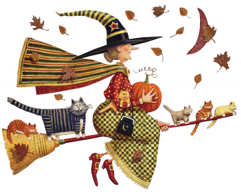 Folk art style witch. Clipart halloween country