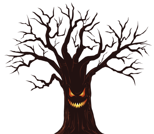 Clipart halloween creepy. Spooky tree silhouette at