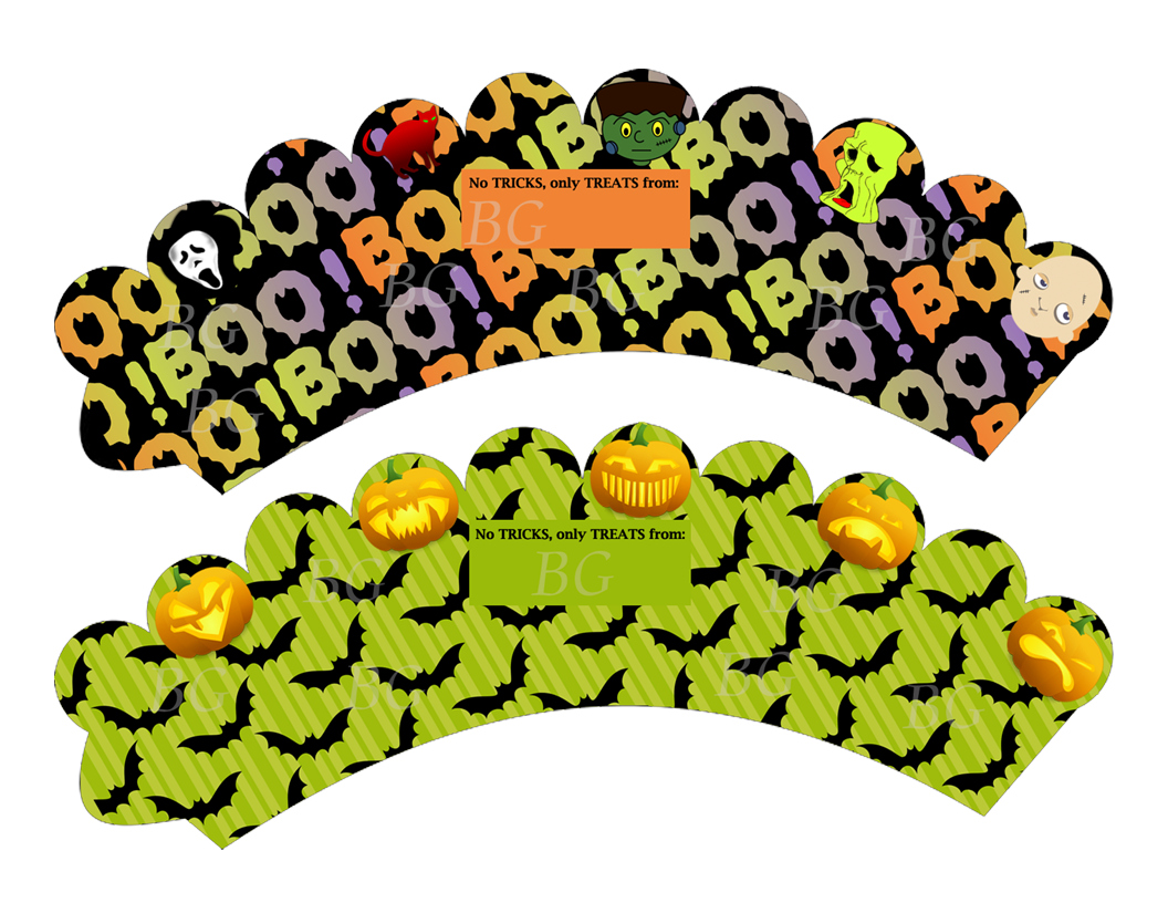 Clipart halloween cup cake. Cupcake wrappers watermarked book