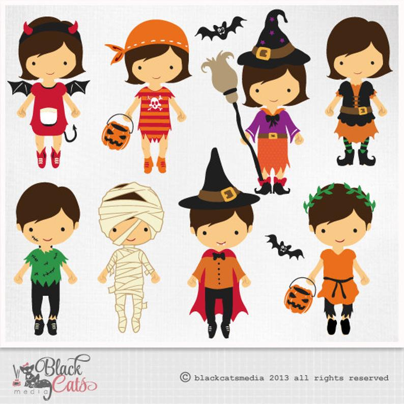 Clipart halloween cute. Costumes digital costume party