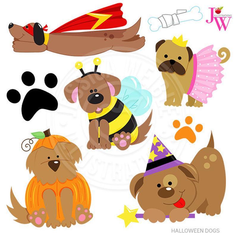 Dogs cute digital puppy. Clipart halloween dog