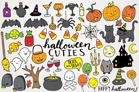 Cute hand drawn clip. Clipart halloween drawing
