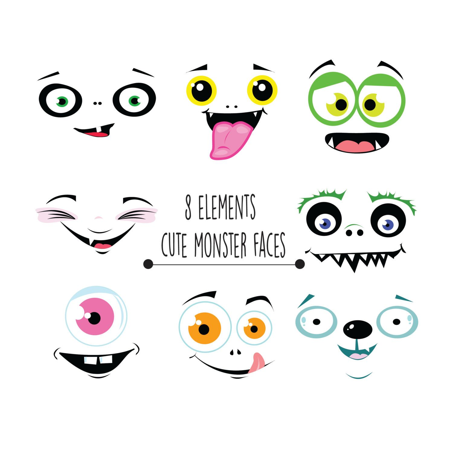 Monster faces funny . Clipart halloween face