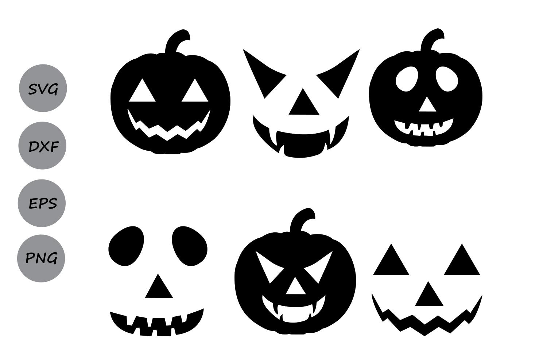 Pumpkin svg faces silhouette. Clipart halloween face