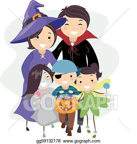 Clipart halloween family. Vector art drawing gg