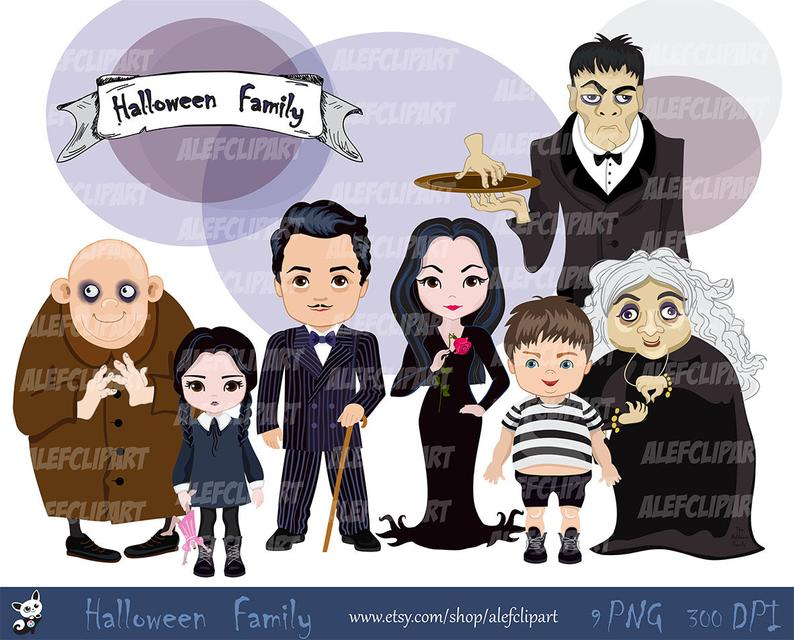 Instant download png file. Clipart halloween family