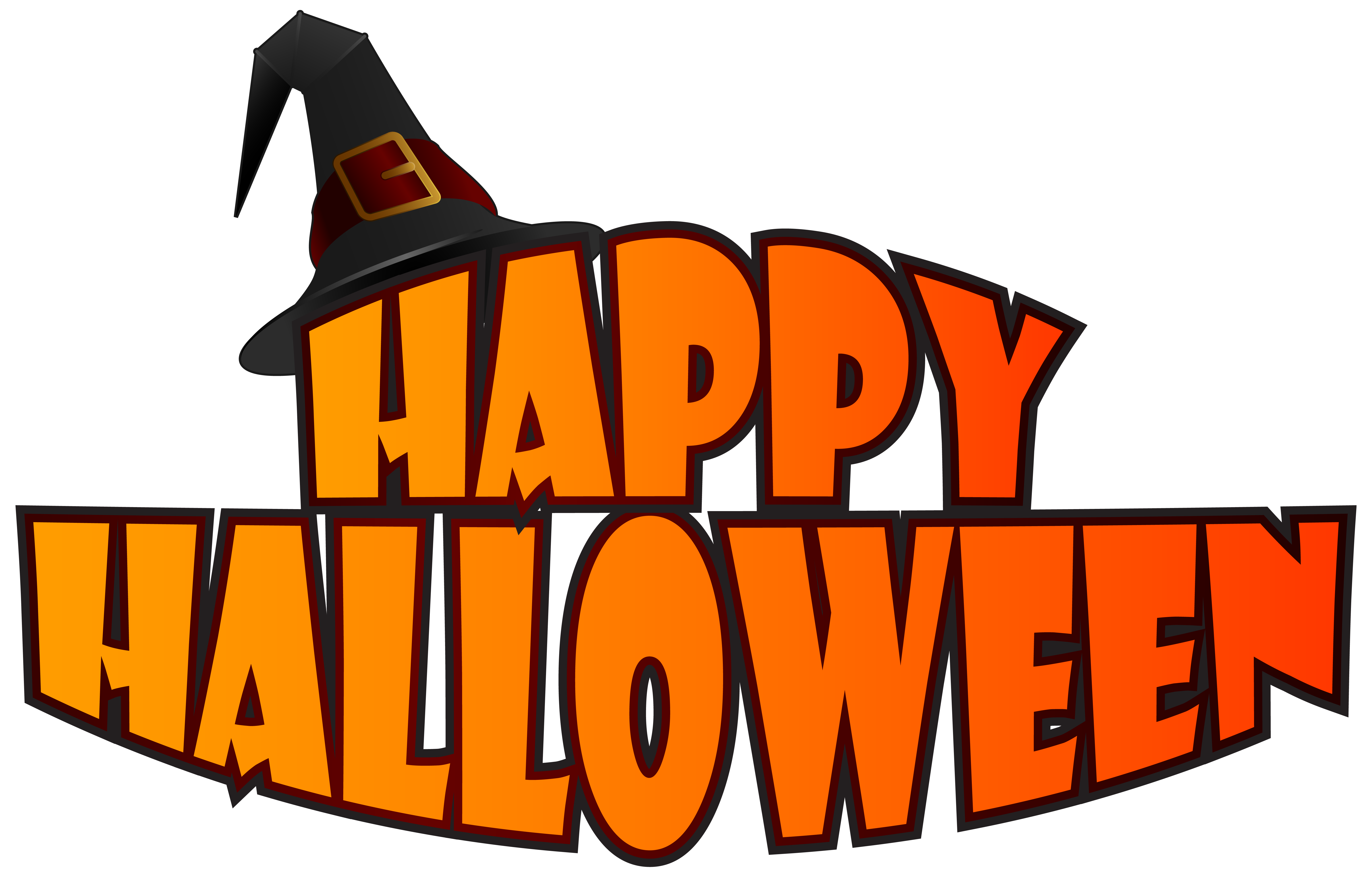 Happy with witch hat. Festival clipart halloween