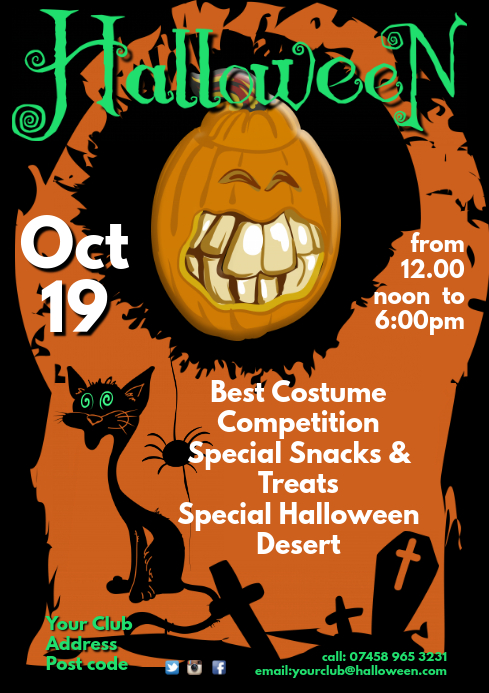 Clipart halloween flyer. Template postermywall