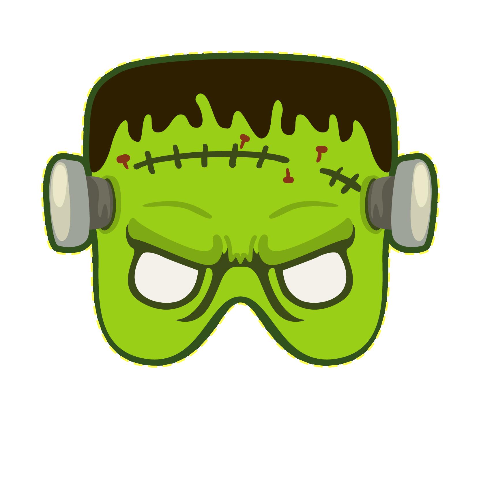 Frankensteins monster mask. Clipart halloween frankenstein