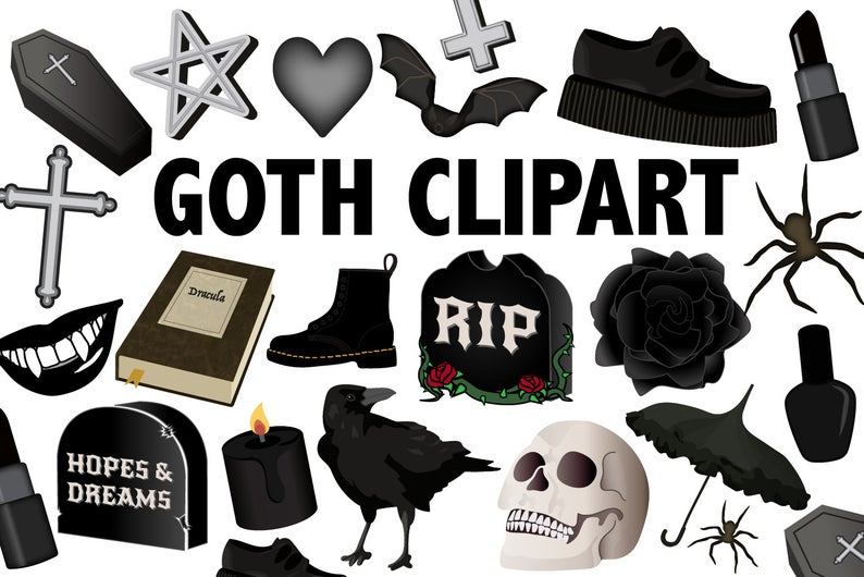 Goth printable icons party. Clipart halloween gothic