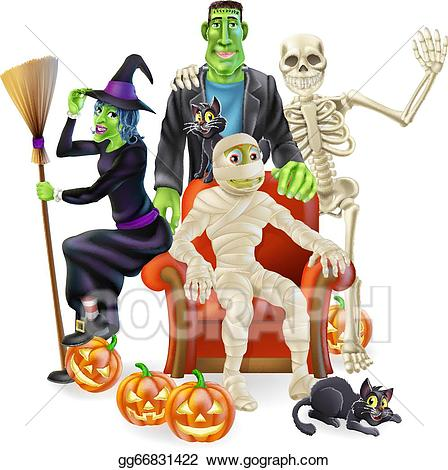 Vector party illustration . Clipart halloween group