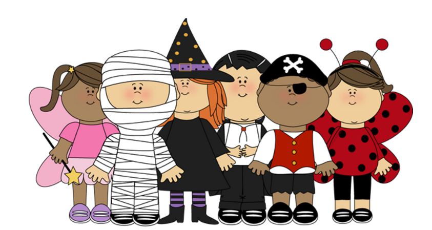 Clipart halloween group. Of people background school