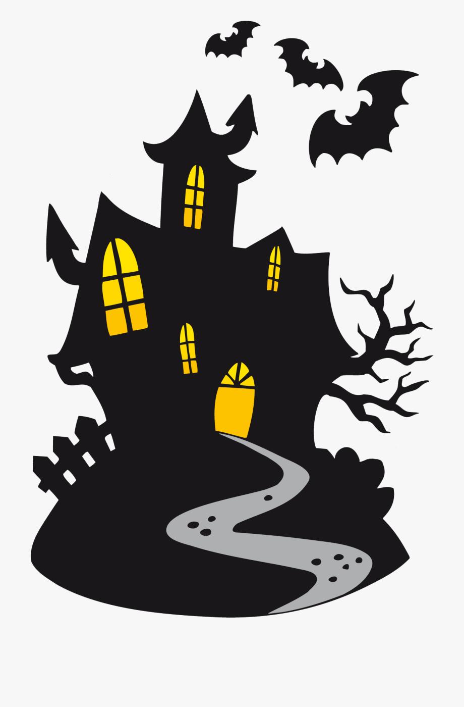 Scary cartoon . Clipart halloween haunted house