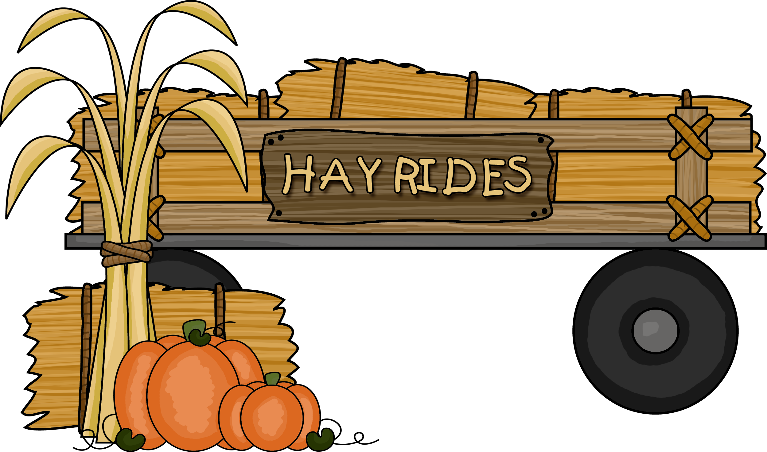 Clipart halloween hayride. Pencil and in color