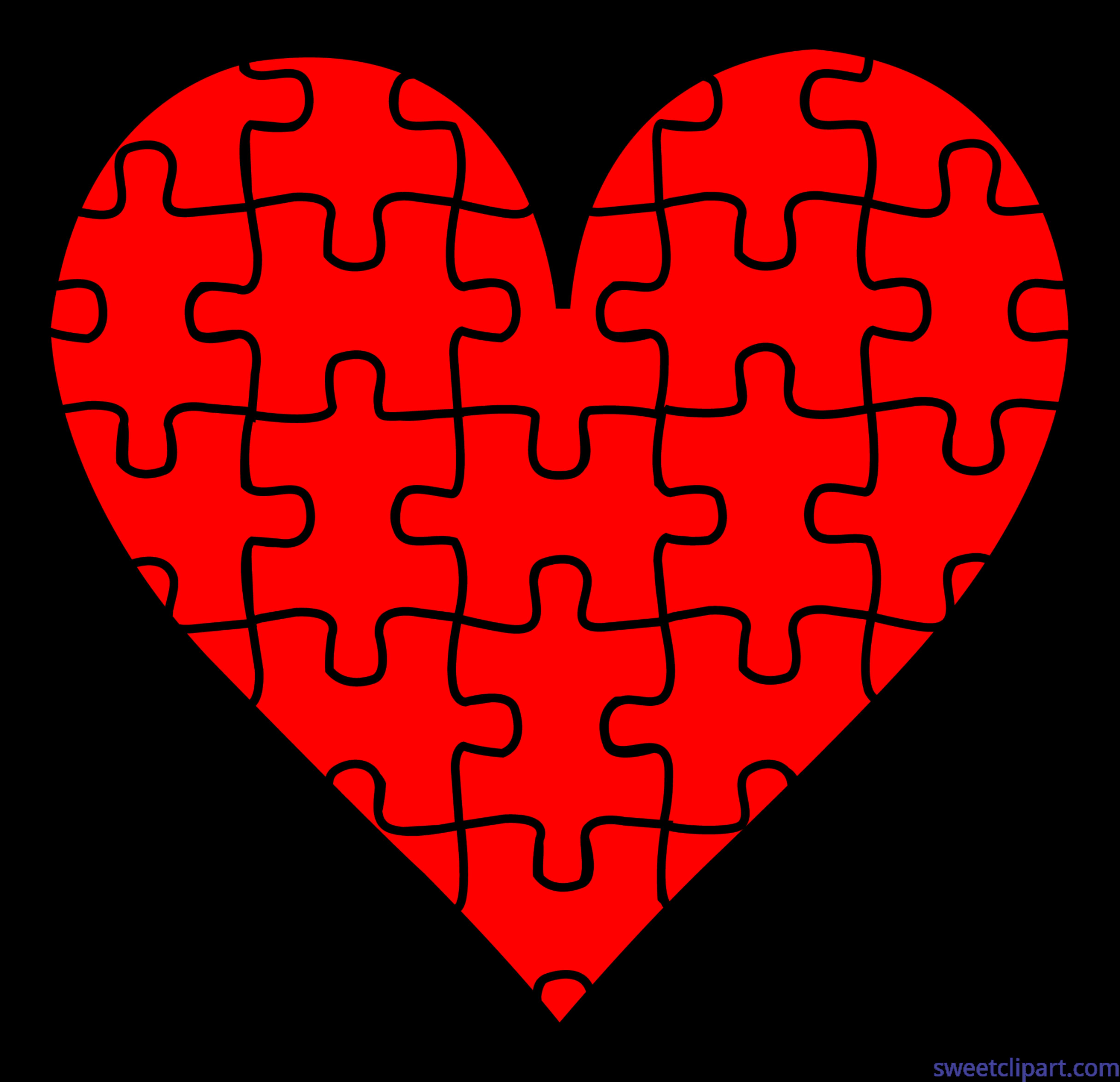 Mail clipart valentines. Symbols puzzle heart clip