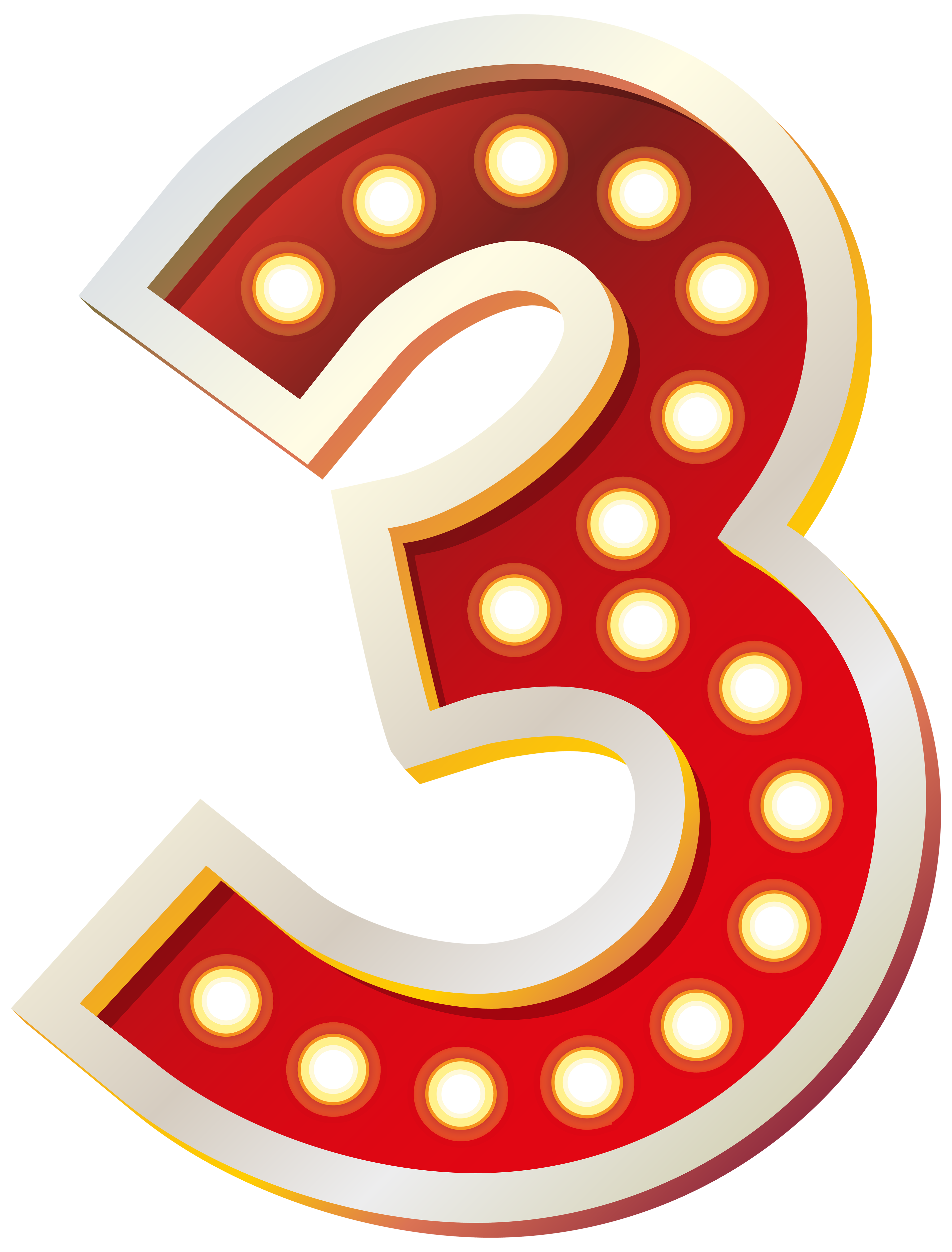 Red number with lights. Kiss clipart three