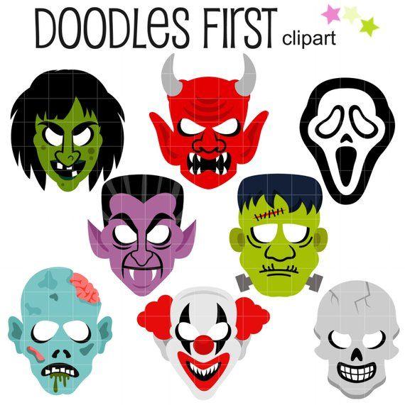 Frankenstein clipart scary. Halloween masks clip art