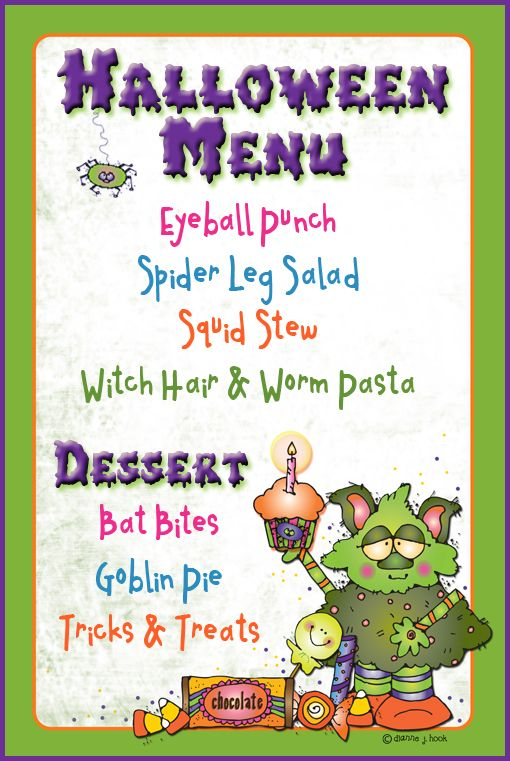 Clipart halloween menu. This was made with