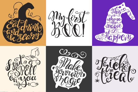 Hand lettering quote . Clipart halloween modern