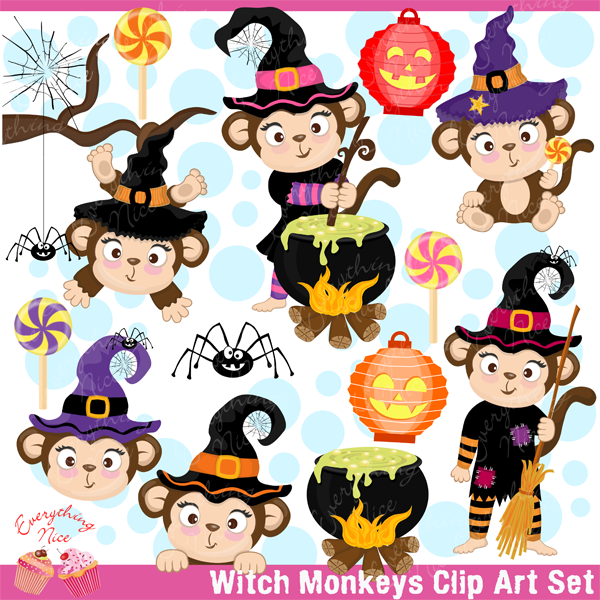 Witch monkeys set cars. Clipart monkey halloween
