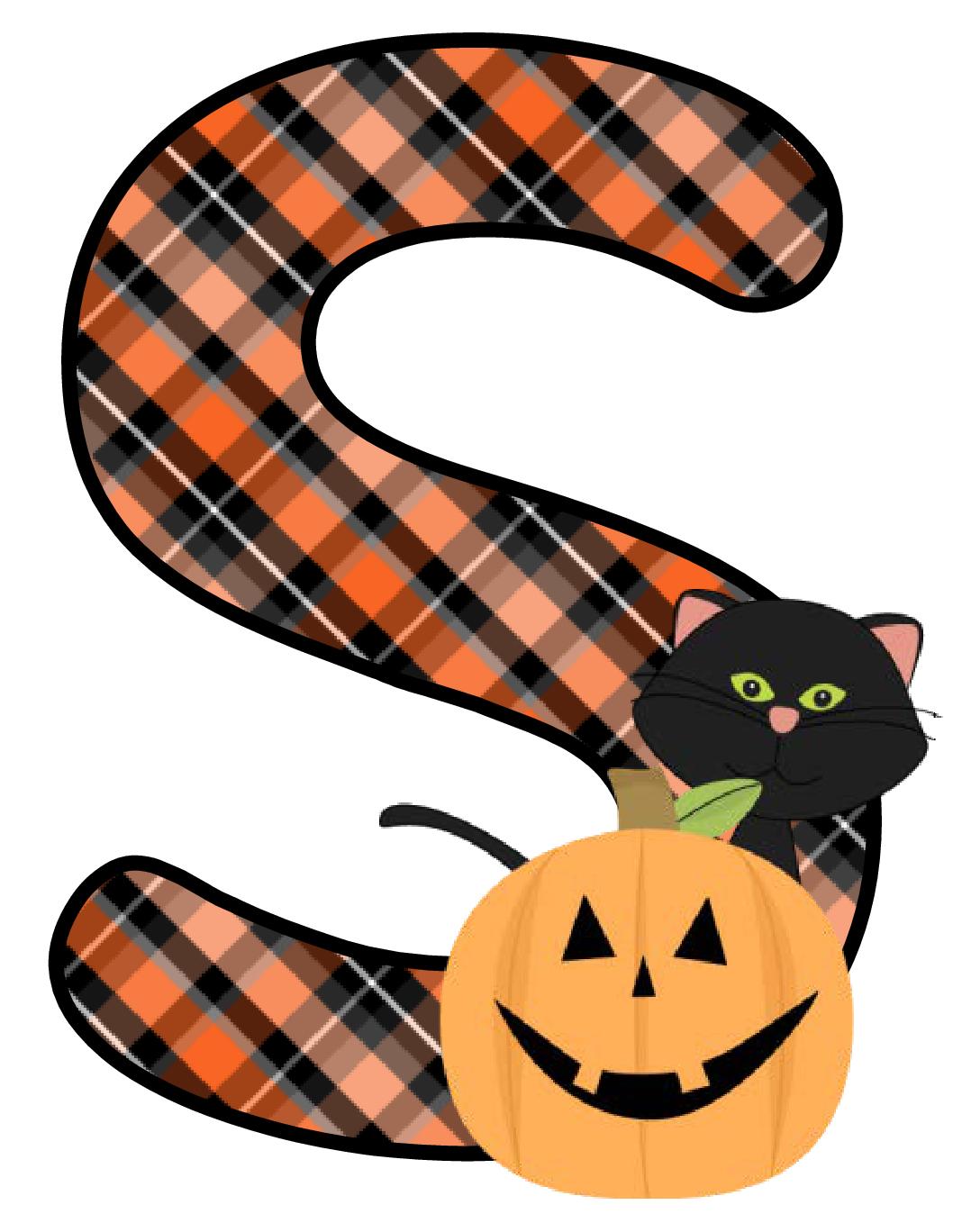 Clipart halloween monogram. Ch b alfabeto calabaza