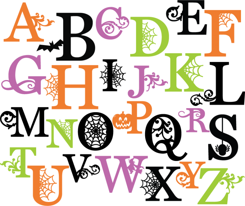 Halloween Monograms Set SVG scrapbook letters spiderweb svg cut file