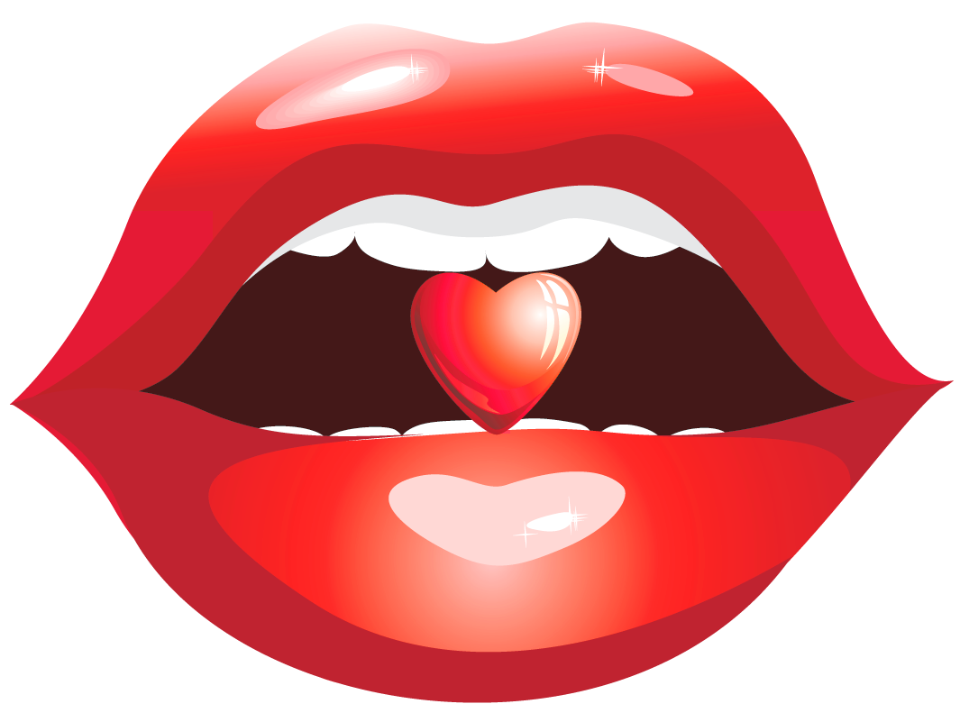 Red lips with heart. Lip clipart nose
