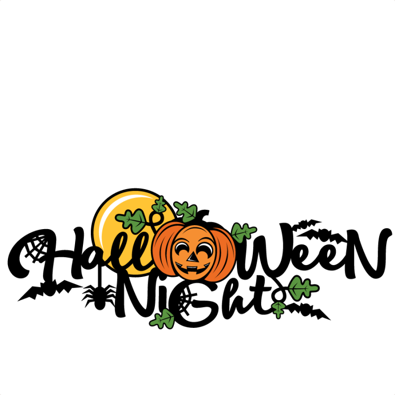 Night clipart cute. Halloween title scrapbook cut