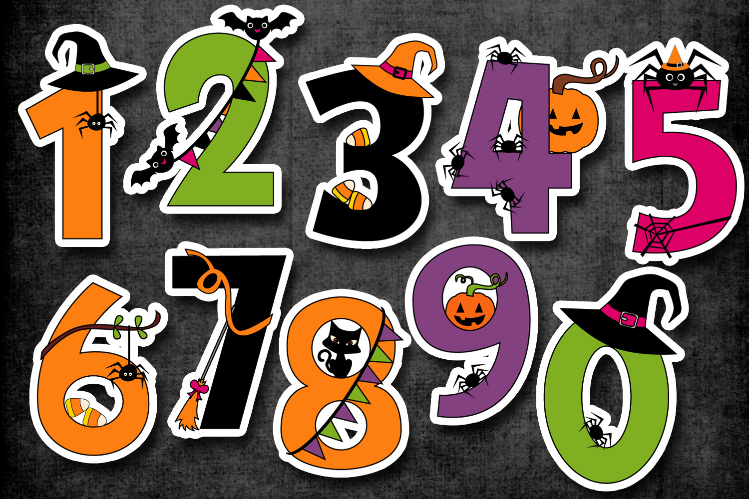Numbers graphic illustrations . Clipart halloween number