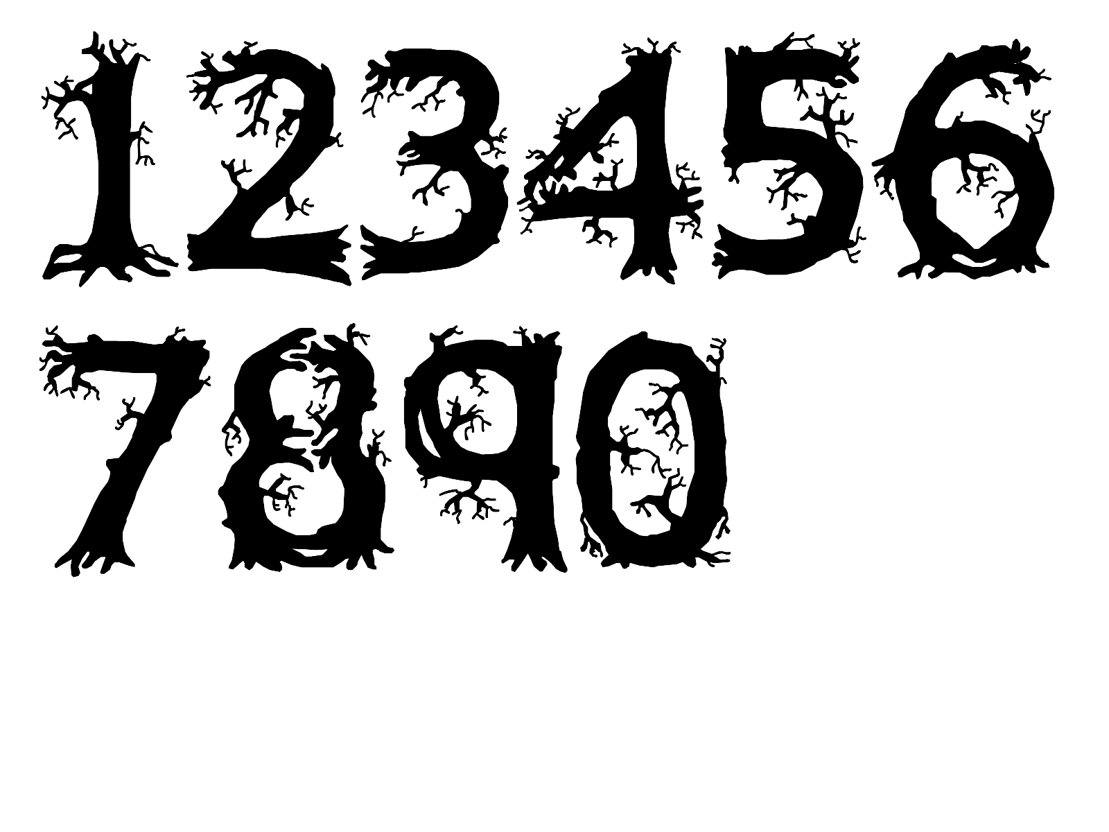 Nice numbers by spooky. Clipart halloween number