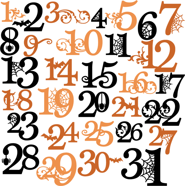 collection of numbers. Halloween clipart number
