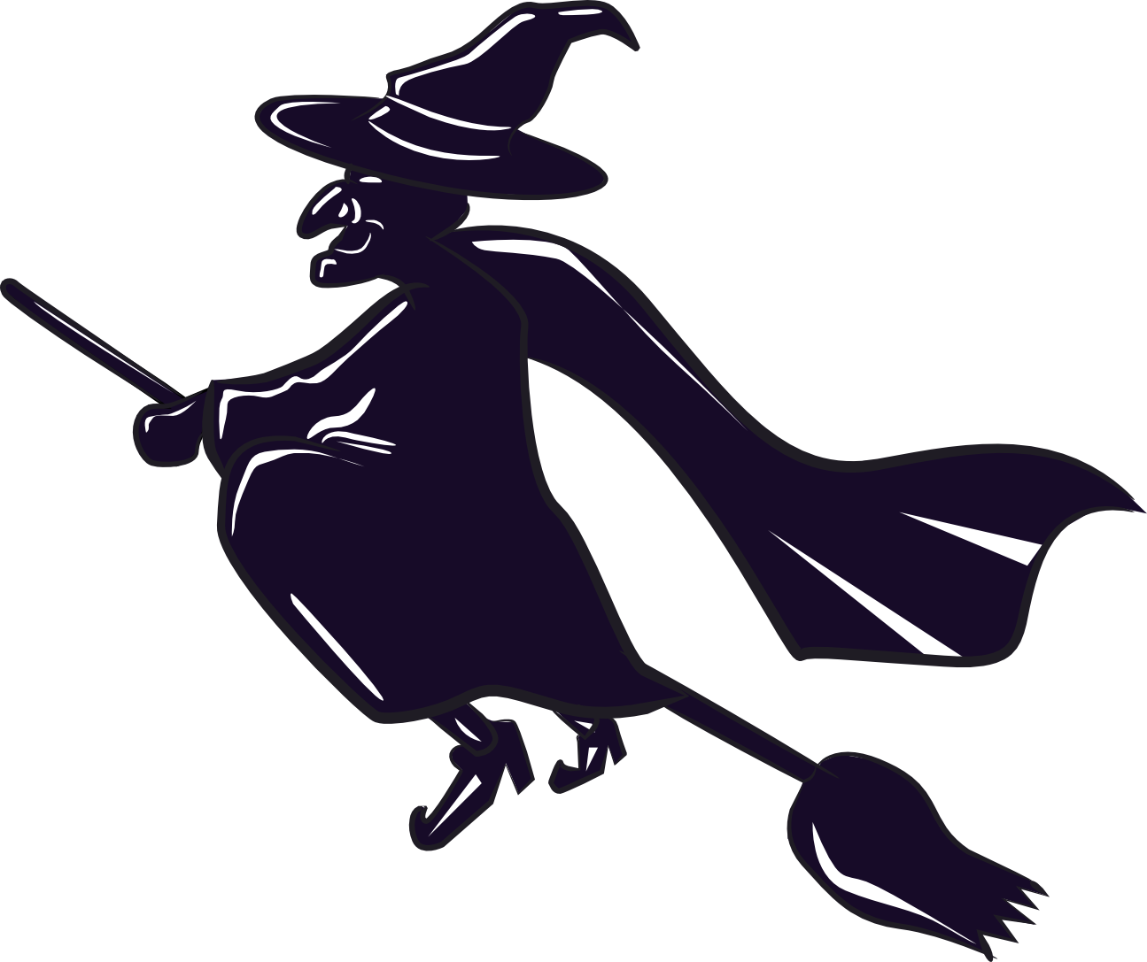 Witch clip art to. Clipart halloween outline