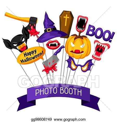 Vector stock props accessories. Halloween clipart photo booth