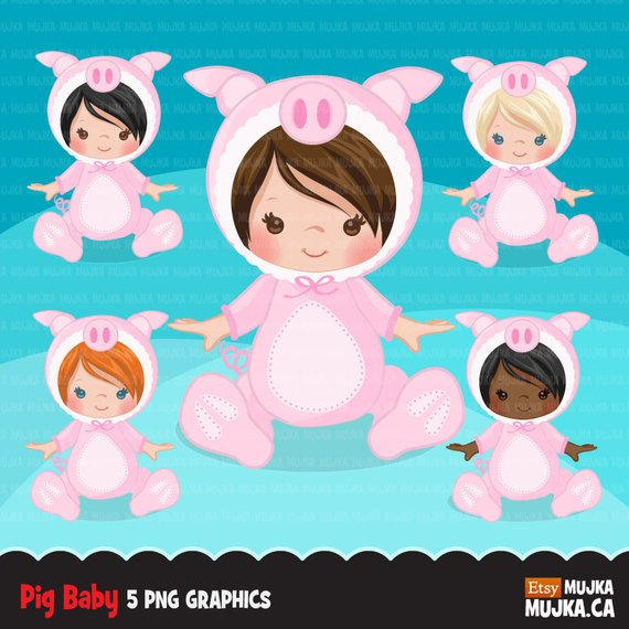 Baby costume shower graphics. Clipart pig halloween