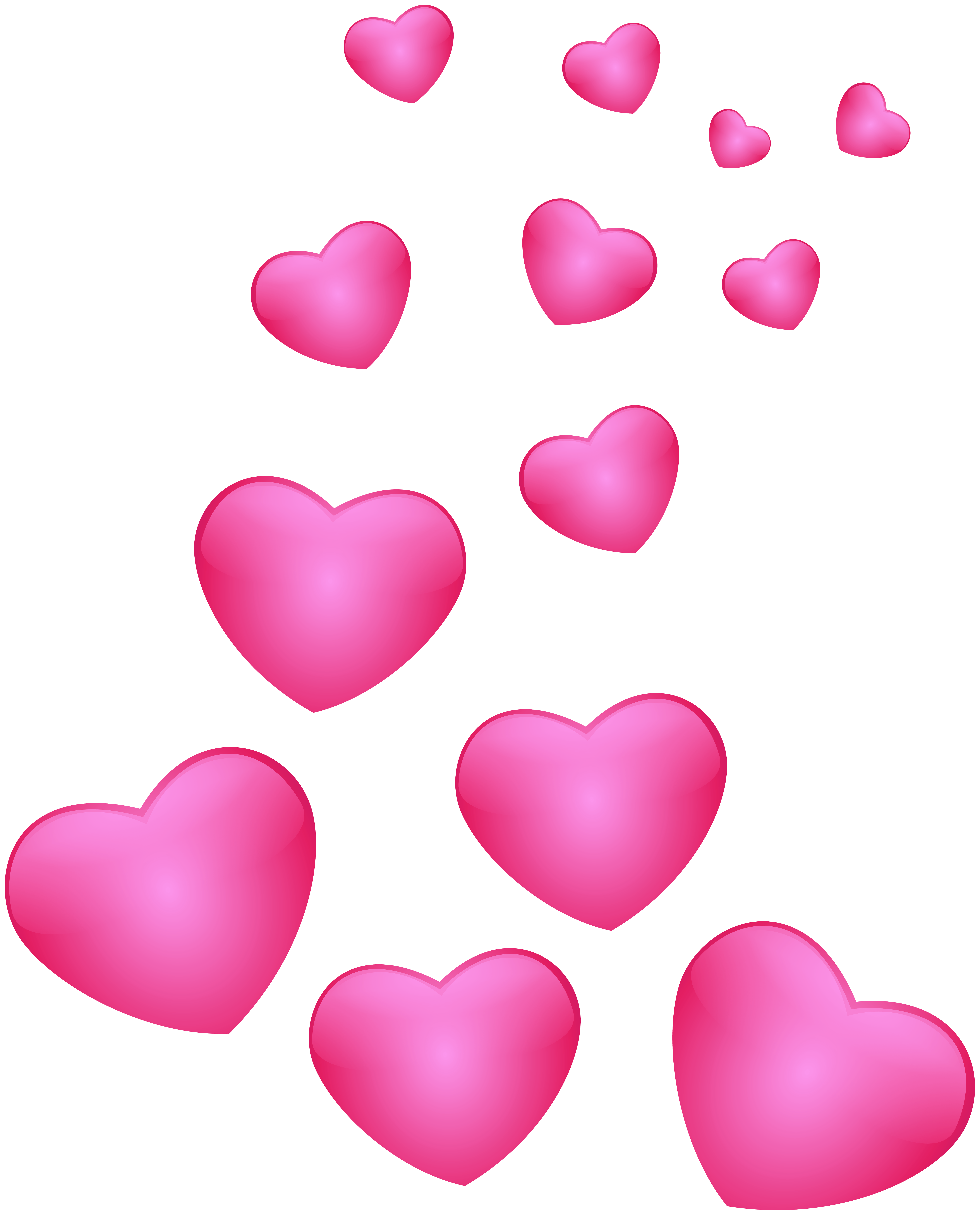Floating hearts png. Pink clip art image